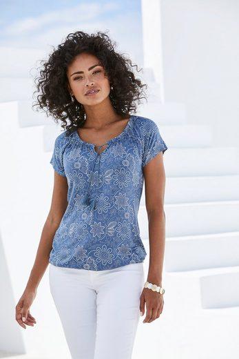 LASCANA T-Shirt (2er-Pack) mit leicht gerafftem Ausschnitt