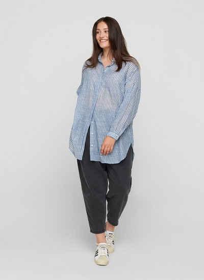Zizzi Longshirt Große Größen Damen Gestreifte Hemdbluse mit Knöpfen