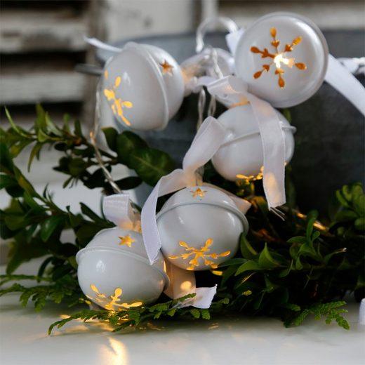 Grafelstein Lichterkette »Lichterkette WHITE BELLS weiß Metallglocken Glöckchen Weihnachten batteriebetrie«