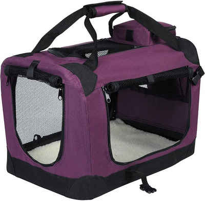 EUGAD Tiertransporttasche »0108HT«, Hundebox faltbar Hundetransportbox Auto Transportbox Reisebox Katzenbox Violett