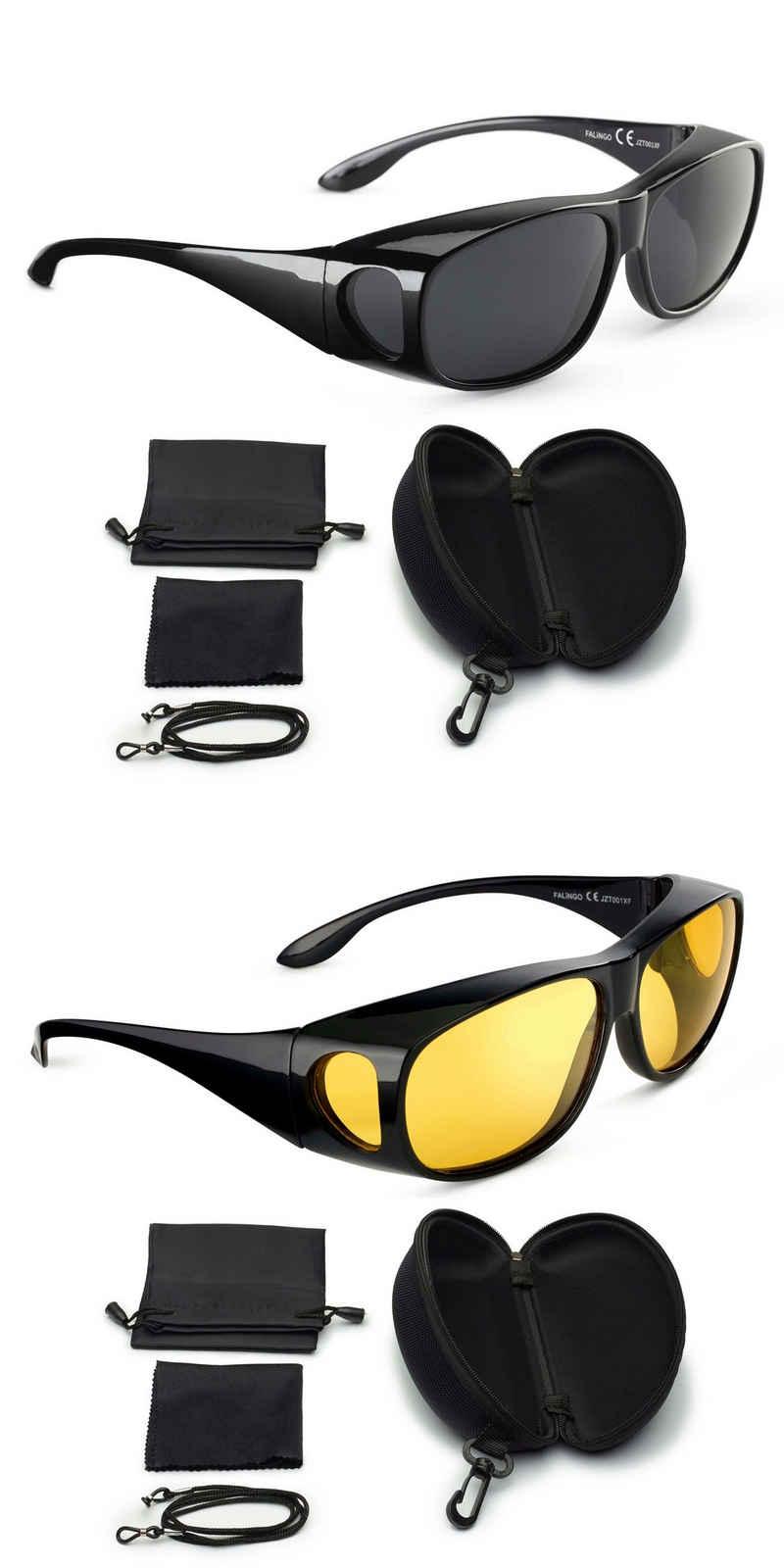 FALINGO Sonnenbrille »Sonnenüberbrille Nachtsichtüberbrille Überbrille Überziehbrille DAY AND NIGHT EDITION polarisiert UV 400« (2-St)