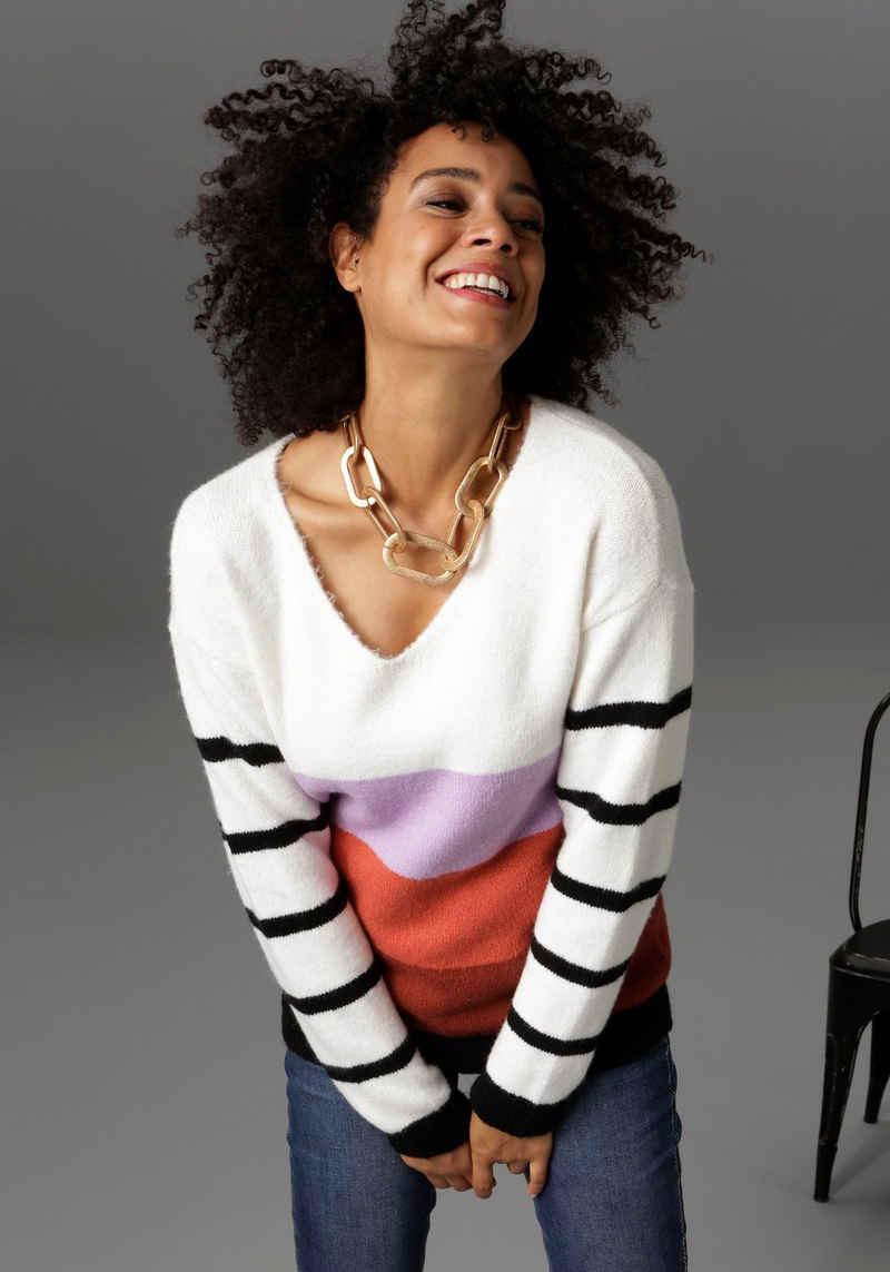 Aniston CASUAL V-Ausschnitt-Pullover mit geringelten Ärmeln - NEUE KOLLEKTION