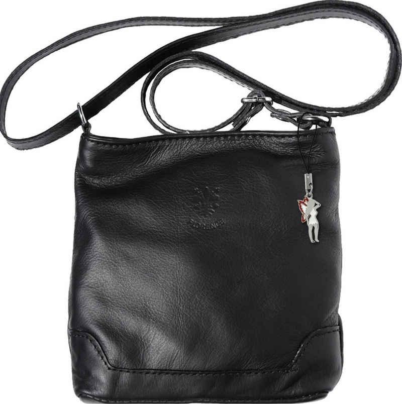 FLORENCE Abendtasche »OTF108S Florence Damen Umhängetasche« (Umhängetasche), Damen Tasche aus Echtleder in schwarz, ca. 18cm Breite, Made-In Italy