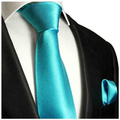 Paul Malone Krawatte »Herren Seidenkrawatte Schlips mit Tuch modern uni satin 100% Seide« (Set, 2-St., Krawatte mit Einstecktuch) Breit (8cm), türkis 981