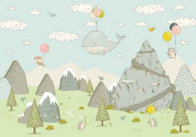 Komar Fototapete »Mountain Traveler«, glatt, bedruckt, Comic, Retro, mehrfarbig, BxH: 400x280 cm