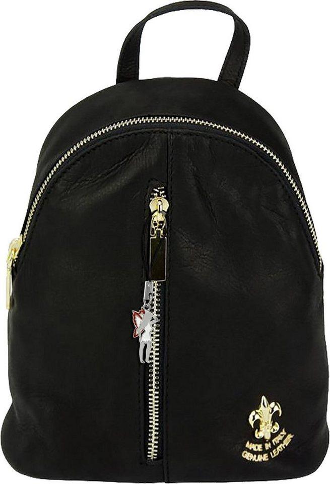 florence -  Cityrucksack »OTF606S  Mini Damen Rucksack Umhängetasche«, Damen, Jugend Rucksack, Echtleder schwarz