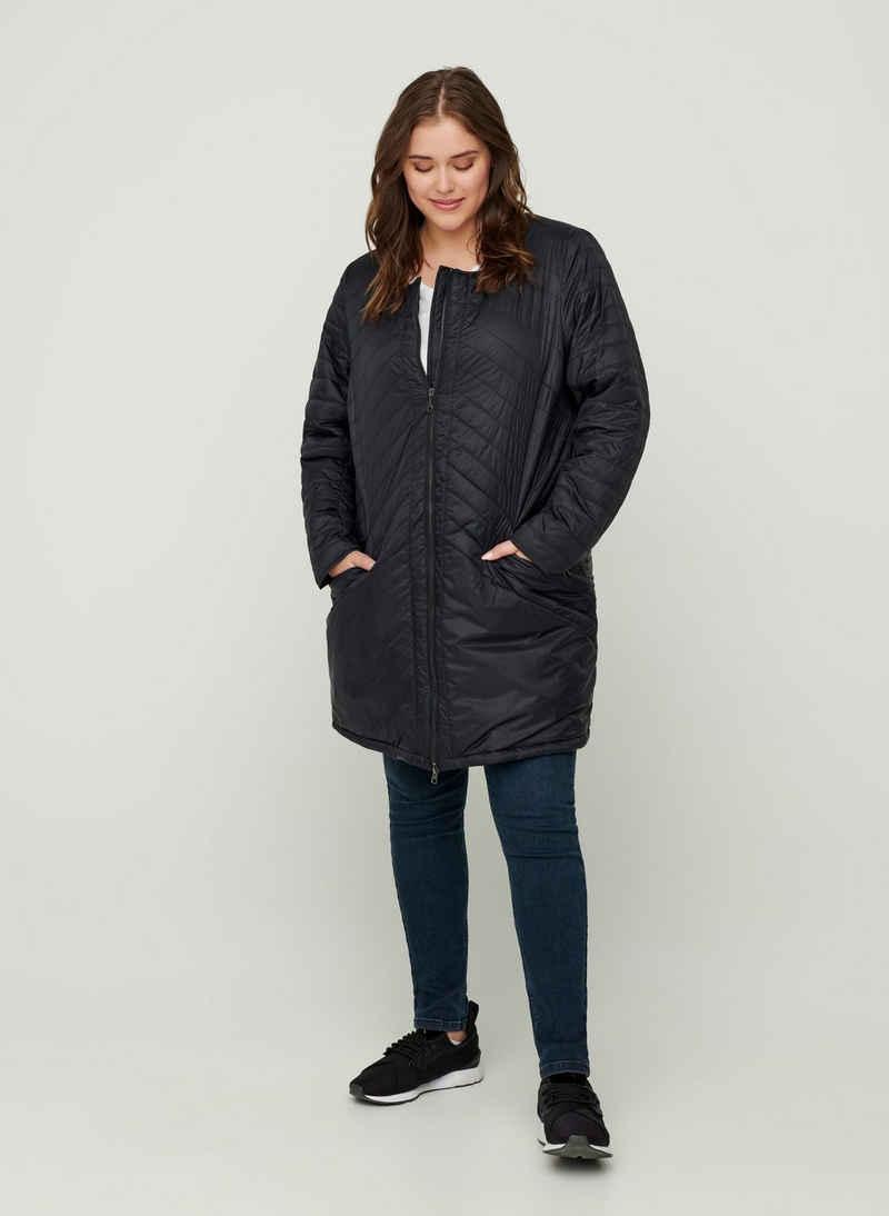 Zizzi Outdoorjacke Große Größen Damen Leichte Stepp Jacke mit Kragen und Reißverschluss
