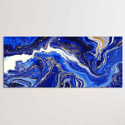"""Dekoli Leinwandbild »Leinwandbild """"Marmor Goldblau"""" Modern Art - Druck auf Leinwand - moderner Kunstdruck - XXL Wandbild - Keilrahmen mit Druck…«, Leinwandbild geeignet für alle Wohnbereiche"""