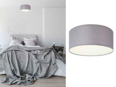 smartwares LED Deckenleuchte, kleine dimmbare Deckenlampe mit Stoffschirm Grau Skandinavisch schöne Beleuchtung für Wohnzimmer, Schlafzimmer und Flur