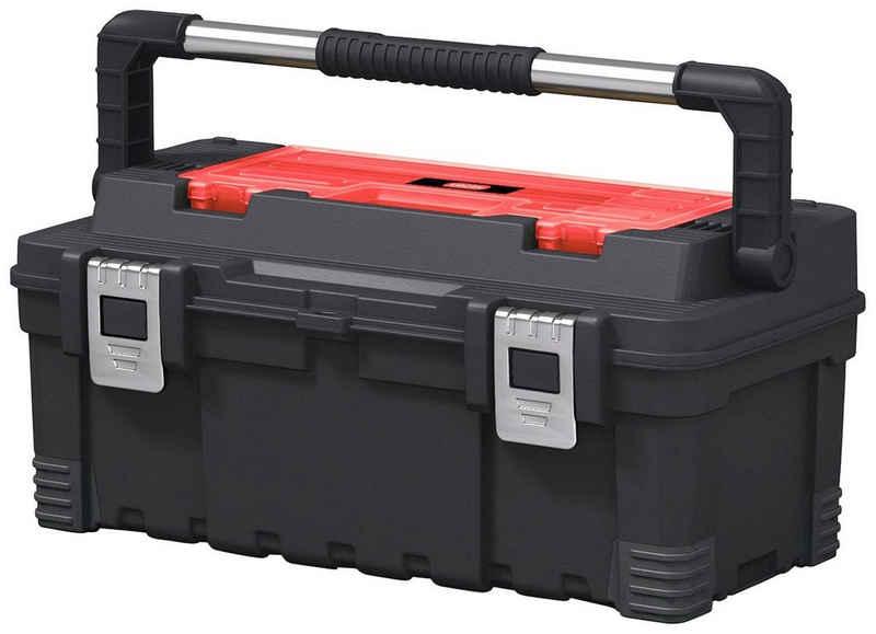 Keter Werkzeugbox »Hawk«, robuster gummierter Metalltragegriff, anpassbare Trennwände, Metallverschlüsse, kann auch herausgenommen und einzeln verwendet werden