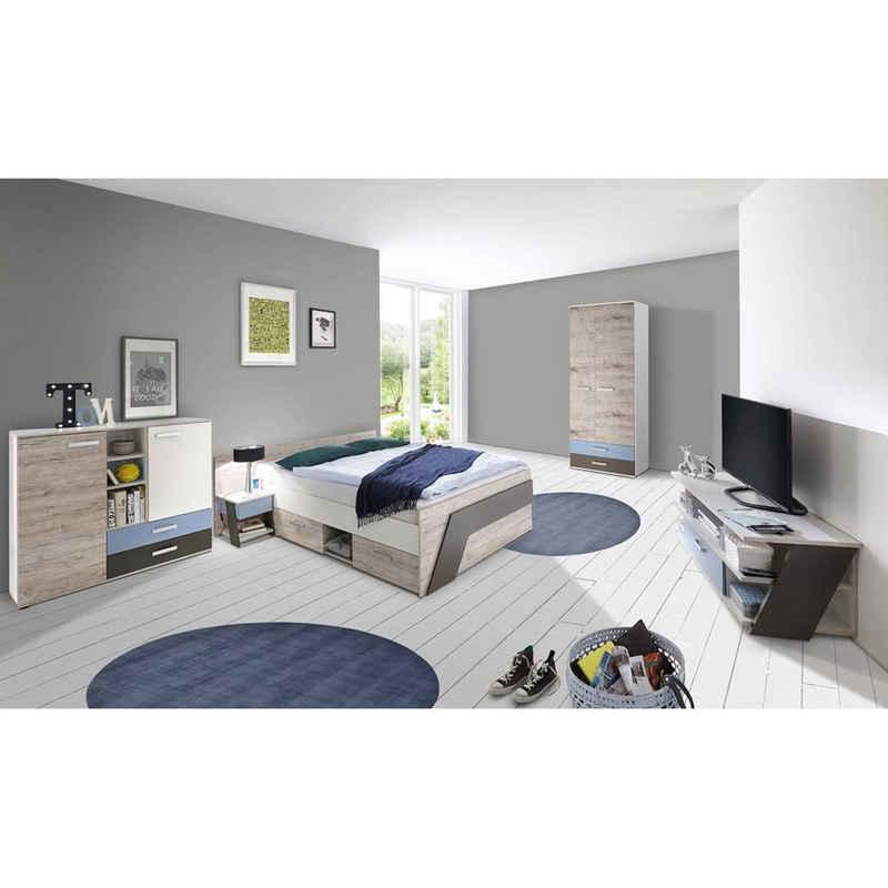 Lomadox Jugendzimmer-Set »LEEDS-10«, (Sparset, 6-tlg), mit Bett 140x200 cm mit 60cm Kleiderschrank in Sandeiche Nb. mit weiß, Lava und Denim Blau