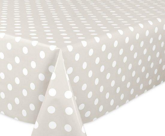 Beautex Tischdecke »Wachstuchtischdecke glatt Taupe, Punkte Weiß abwischbar Garten Tischdecke RUND OVAL ECKIG, Größe wählbar« (1-tlg)