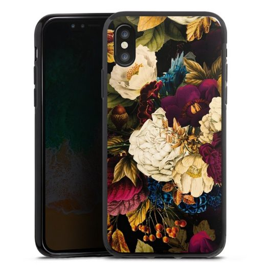 DeinDesign Handyhülle »Dark Vintage Flowers« Apple iPhone Xs, Hülle Vintage Blumen Muster