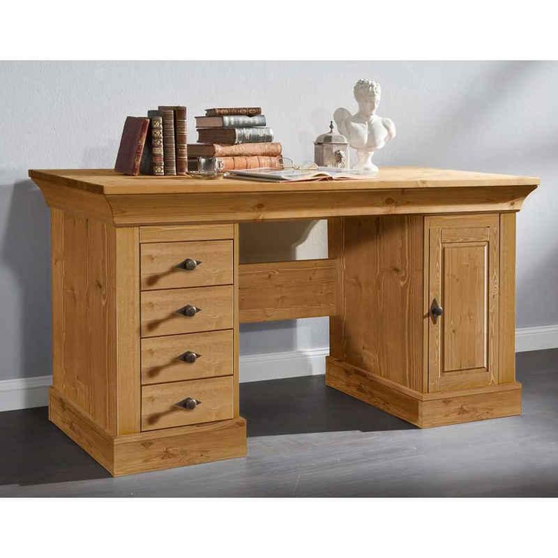 Pharao24 Schreibtisch »Lusiano«, aus Massivholz, mit Stauraum, mit Knieraumblende