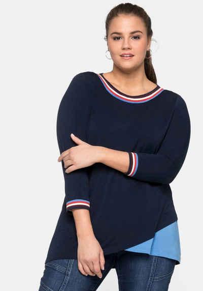318 40 bis 52 Kurzarm Sheego Bluse Shirt Gr mit Spitze im Rücken NEU