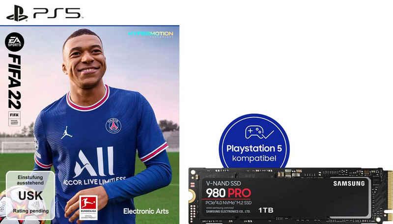 Samsung »980 PRO SSD 1TB + FIFA 22 PS5« interne SSD (1 TB) 7000 MB/S Lesegeschwindigkeit, 5000 MB/S Schreibgeschwindigkeit, NVMe M.2)