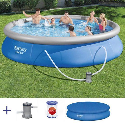 BESTWAY Pool »BESTWAY Fast Set Pool Swimmingpool Rundpool mit Filterpumpe und Cover 457x84cm«