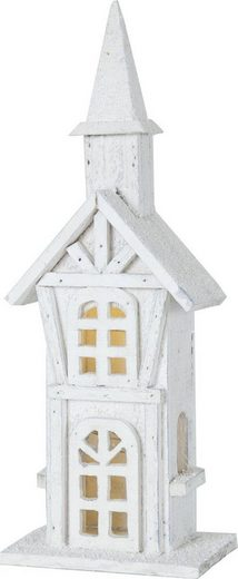 """STAR TRADING Weihnachtshaus »LED-Leuchthaus """"Woodland"""" - 5 warmweiße LED - Batteriebetrieb - Timer - H: 38cm, L: 14cm - weiß«, Batteriebetrieb"""