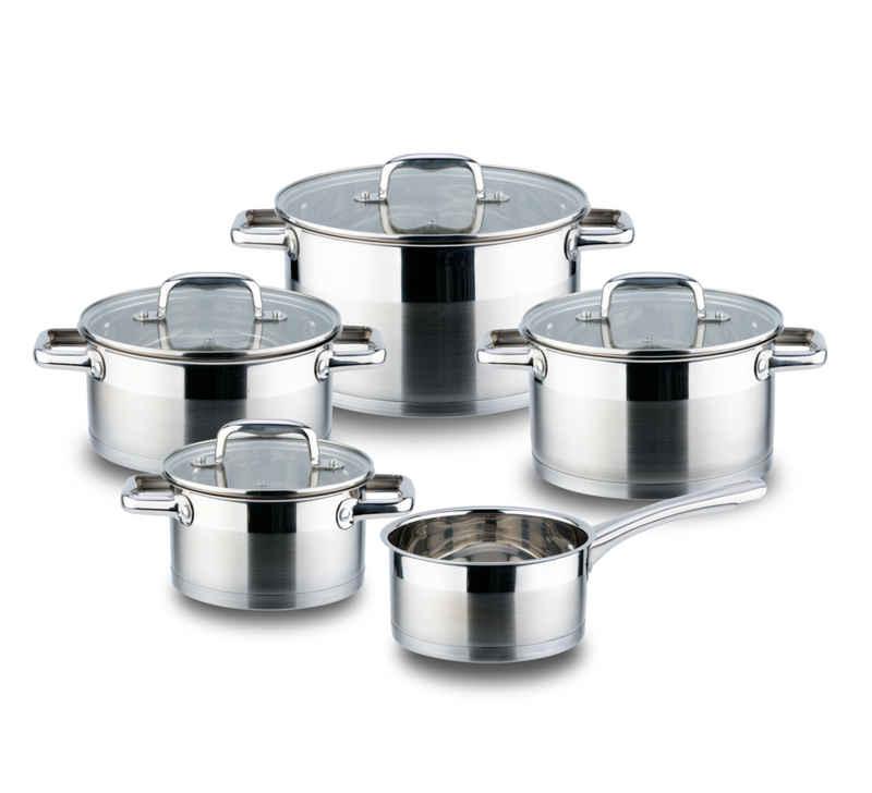 Linnuo Topf-Set »9tlg Edelstahl Topfset - 5 Töpfe & 4 Glasdeckel - für alle Herde inkl Induktion - Griffe nicht heiß - spülmaschinen- und backofenfest - hochwertiges Kochtopf Set für moderne Küchen«, Edelstahl, (9tlg. Kochset, 9-tlg), induktionsgeeignet