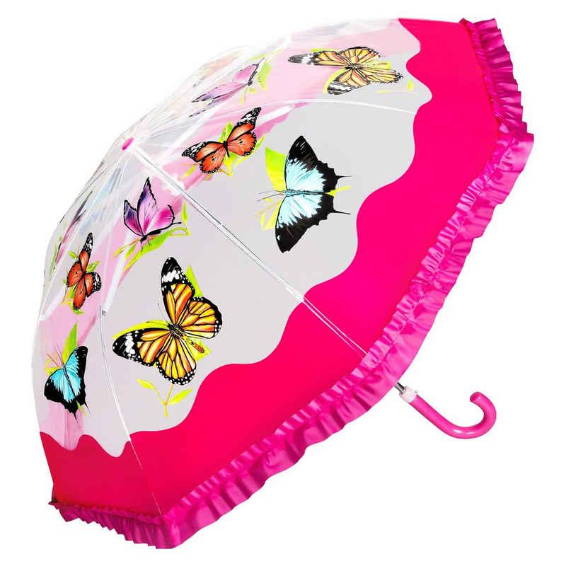 von Lilienfeld Stockregenschirm »VON LILIENFELD Regenschirm Kinderschirm Schmetterling Butterfly Kids Junge Mädchen bis ca. 8 Jahre«, Rüschenkante
