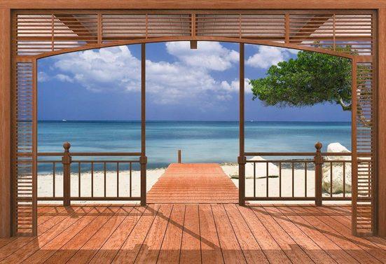 Komar Fototapete »El Paradisoe«, glatt, Meer, Wald, bedruckt, (Set), ausgezeichnet lichtbeständig
