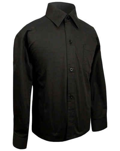 Paul Malone Langarmhemd »Festliches Kinderhemd Jungenhemd uni - Jungen Hemd« schwarz KH2 - 98 (3 Jahre)