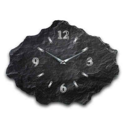 Kreative Feder Wanduhr »Schwarz« (leise/kein Ticken, aus echtem Schiefer, 40x30cm, Schwarzer Schiefer, WS217)