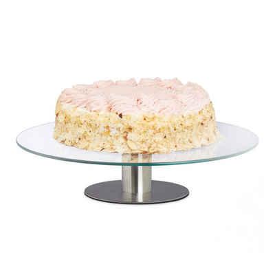 relaxdays Tortenplatte »Tortenplatte drehbar mit Standfuß«, Glas