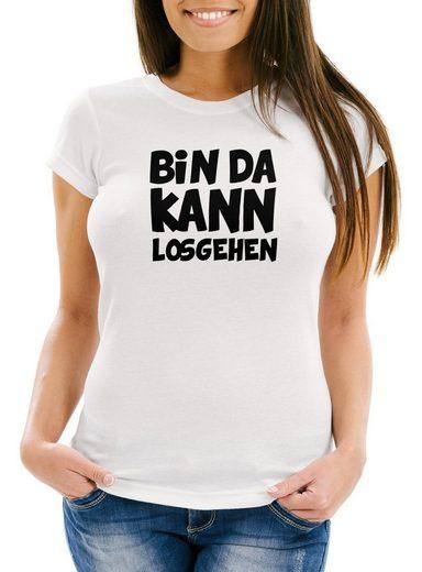 MoonWorks Print-Shirt »Damen Fun T-Shirt mit Spruch Bin da kann losgehen Slim Fit Moonworks®« mit Print