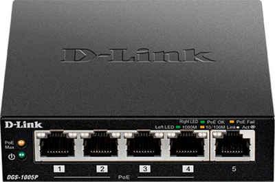 D-Link »DGS-1005P 5-Port Desktop Gigabit PoE+ Switch« Netzwerk-Switch