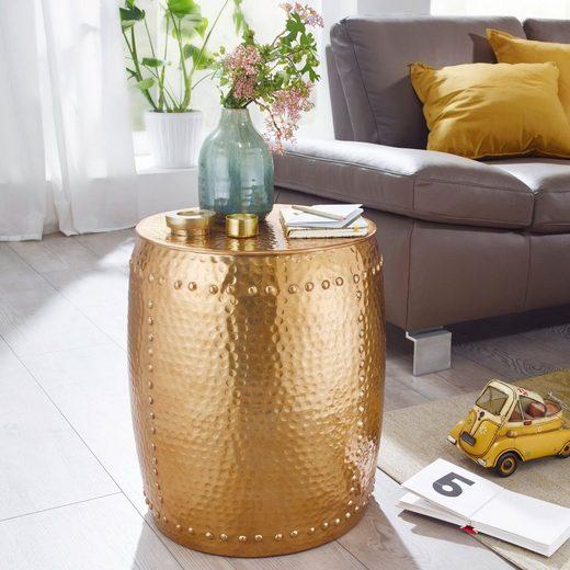 Wohnling Beistelltisch »WL5.471«, PEDRO 42x49x42cm Aluminium Gold Dekotisch orientalisch rund Kleiner Hammerschlag Abstelltisch Designer Ablagetisch Metall modern Anstelltisch schmal