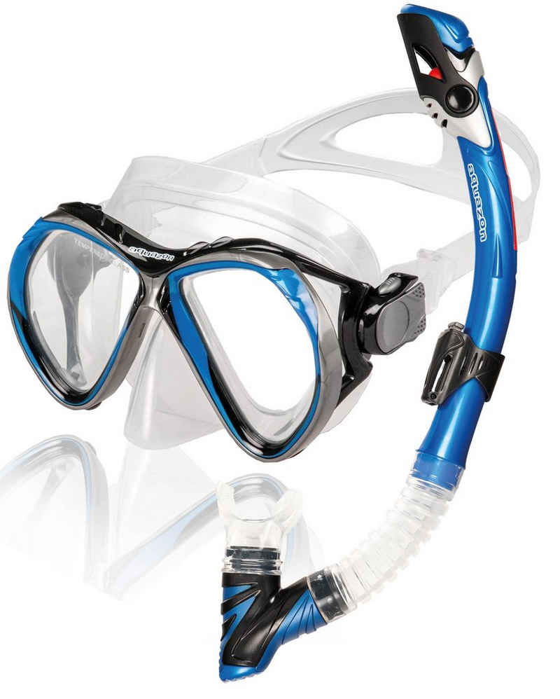 AQUAZON Taucherbrille »AQUAZON BARCELONA Hochwertiges Schnorchelset, Tauchset, Schwimmset, Schnorchelbrille mit Tempered Glas, Schnorchel mit Dry top, Maske Silikon für Erwachsene, Senior«