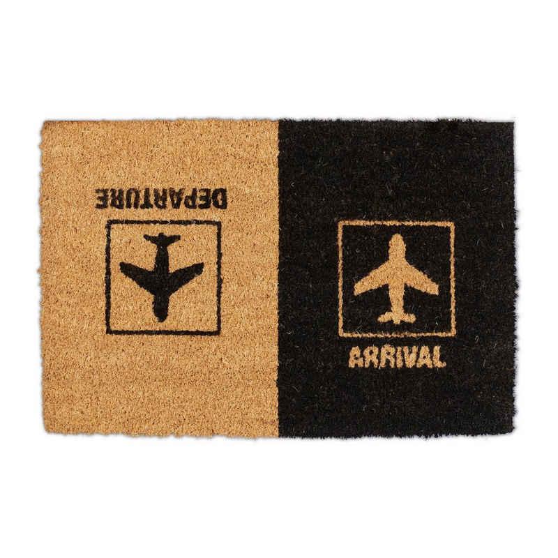 """Fußmatte »Fußmatte Kokos """"Arrival Departure""""«, relaxdays, Höhe 15 mm"""