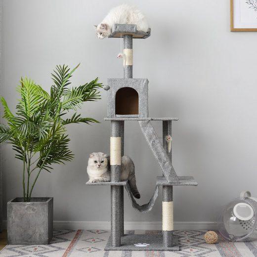 Masbekte Kratzbaum, Mehrstufige Katzenturm mit Eigentumswohnungen & Hängematte, 45 * 45 * 140 cm