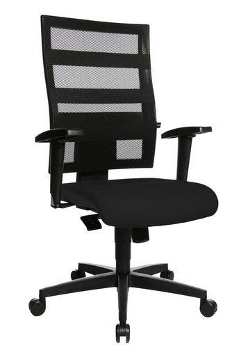 Lüllmann Drehstuhl »Bürodrehstuhl mit Armlehnen - Netzrücken - Kunststofffußkreuz - GS zertifiziert - schwarz«, Büro-Drehstuhl inkl. höhenverstellbarer Armlehnen-Paar mit Softpadablage -, Punkt-Synchron-Mechanik zur synchronen Verstellung von Sitz- und Rückenlehnenneigung