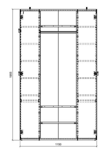 Garderoben Sets - Feldmann Wohnen Garderobe »ELA«, Breite 115 cm  - Onlineshop OTTO
