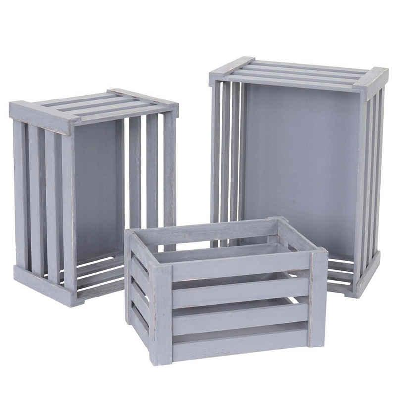 MCW Holzkiste »MCW-C56« (Set, 3 Stück, 3er-Set), Drei verschiedene Größen, Ineinander stapelbar, Dekorativ und praktisch