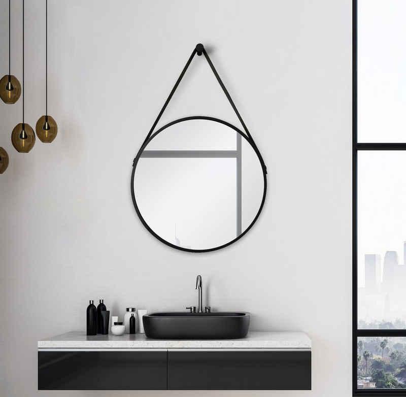 Talos Badspiegel »Black Style«, Durchmesser: 50 cm, mattschwarz lackiert