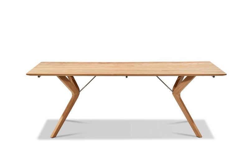 Musterring Gartentisch »Freilicht - Tisch: Frankreich«, Tisch FRANKREICH Tischplatte Teak natur mit Facettenkante, Untergestell Teak mit Edelstahl-Streben