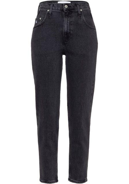 Hosen - Calvin Klein Jeans 5 Pocket Jeans »MOM JEANS« mit Destroy Elementen › schwarz  - Onlineshop OTTO