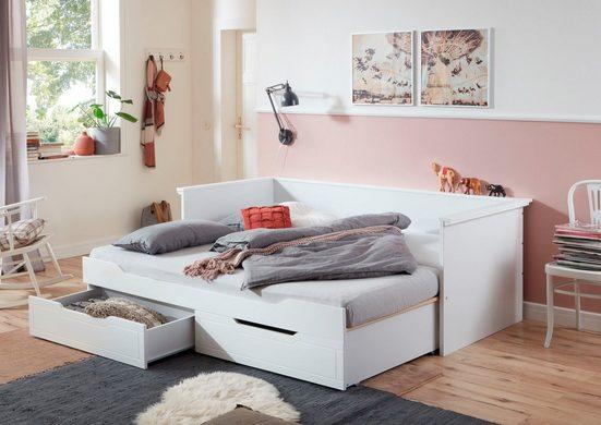 Relita Funktionsbett »Lina«, mit ausziehbarer Liegefläche und 2 Schubkästen, wahlweise mit Matratze