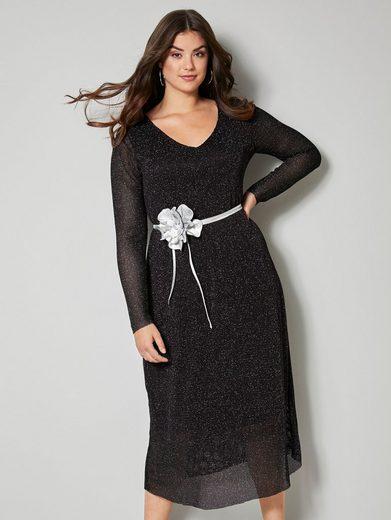 Angel of Style by Happy Size Mesh-Kleid mit Glanzeffekten