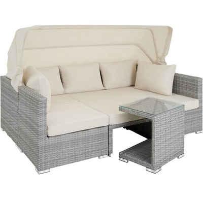 tectake Loungeset »Rattan Lounge mit Aluminiumgestell San Marino«, (7-tlg., inkl. Kissen)