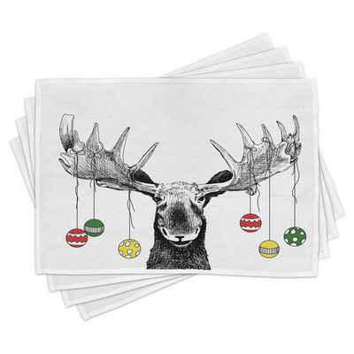 Platzset, »Waschbare Stoff Esszimmer Küche Tischdekorations Digitaldruck«, Abakuhaus, (4-teilig, 4 Teilig-St., Set aus 4x), Weihnachten Flüchtiger Noel Ornament