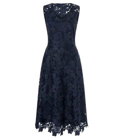 Laurèl Spitzenkleid »Laurél Spitzen-Kleid hinreißendes Damen Blumennähte-Kleid mit gezacktem Saum und Ärmellos Cocktail-Kleid Marine«