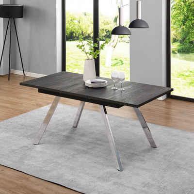 B&D home Esstisch »ausziehbarer Esszimmertisch EDDA«, Esstisch ausziehbar 120-160 cm, Eiche Optik, Metallfüße verchromt, modern