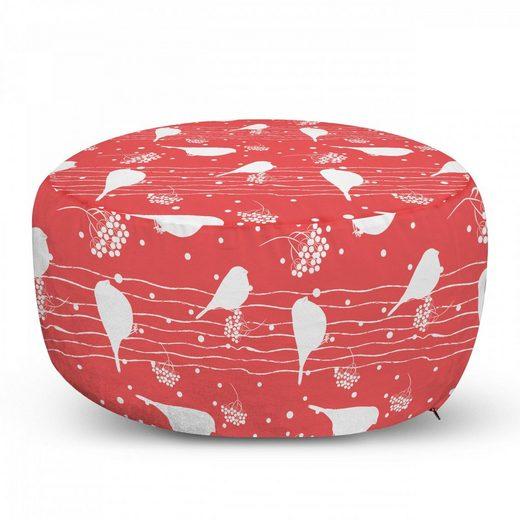 Abakuhaus Pouf »dekorative weiche Fußstütze und Reißverschlusshülle osmanisches Wohn-und Schlafzimmer«, Vögel Gimpel Silhouetten Sitzen