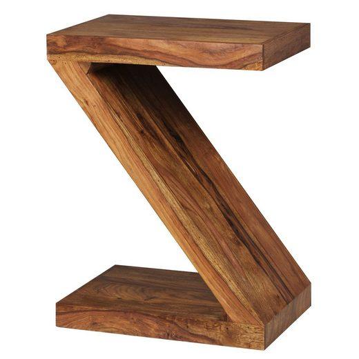 Wohnling Beistelltisch »WL1.303«, MUMBAI Massivholz Sheesham Z Cube 59cm hoch Wohnzimmer-Tisch Design braun Landhaus-Stil Couchtisch
