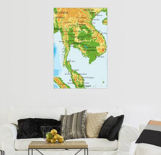 Posterlounge Wandbild, Landkarte von Thailand