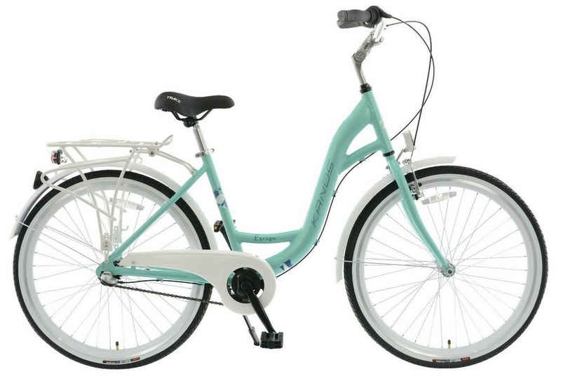 breluxx Cityrad »26 Zoll ALU Damenfahrrad Mädchenfahrrad Escape mit Rücktrittbremse + Beleuchtung, mint«, 3 Gang Shimano Nexus Schaltwerk, Nabenschaltung
